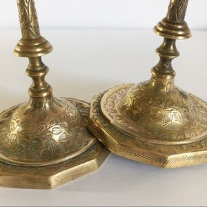 Vintage Accents - Pair brass candlesticks candle holders engraved
